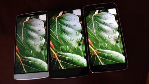 مقایسه نمایشگر LG G3 و Galaxy S5 و Oppo Find7 (کواد اچدیها)