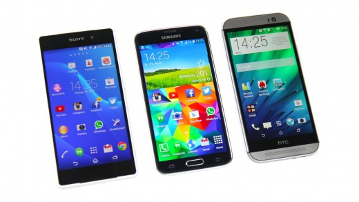 مقایسه بنچمارک Xperia Z2 و Galaxy S5 و HTC One M8 (زبان آلمانی)