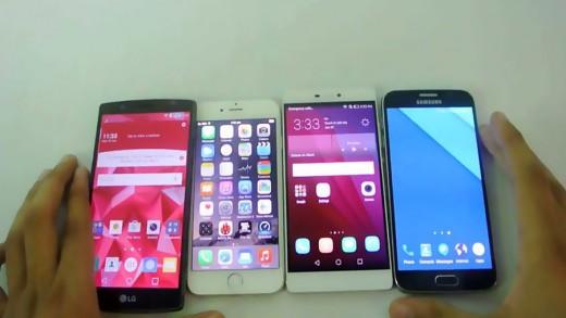مقایسه بنچمارک Huawei P8 و iPhone 6 و LG G4 و Galaxy S6