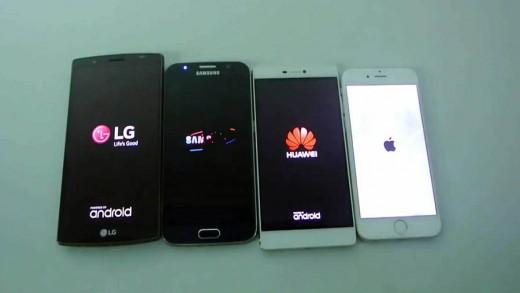 مقایسه سرعت بوت شدن LG G4 و Huawei P8 و iPhone 6 و Galaxy S6