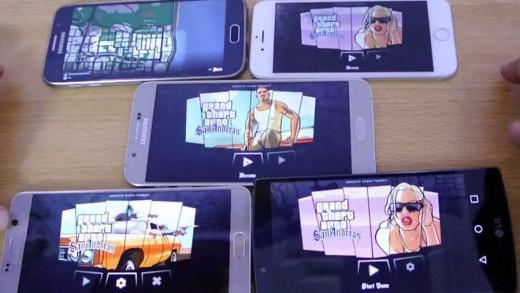 مقایسه اجرای بازی GTA San Andreas برروی نوت ۵ ، گلکسی S6 ، گلکسی A8 ، الجی G4 و آیفون ۶